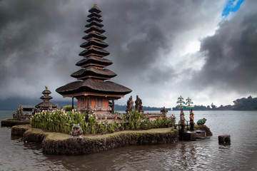 Ulun Danu Bratan (Pura Ulu Danau) temple. Famous place, national landmark of Bali, Indonesia