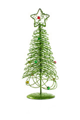 Christmas tree toy on white background background