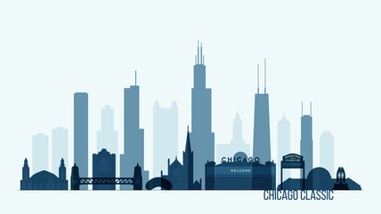 Wall Mural - Chicago skyline buildings vector illustration