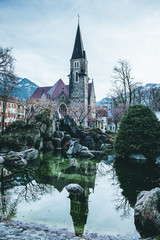 The reflection of church, Interlaken, Switzerland