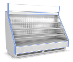 Open refrigerated inclined showcase. 3d image isolated on white.