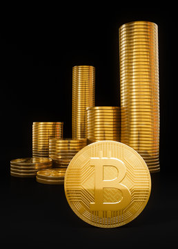 Bitcoin cryptocurrency gold coins heap