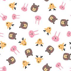 Cute wild animals seamless pattern