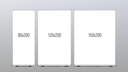 Roll Up Banner Stand Vector. Vertical Board Set For Trade Advertising Design. Corporate Business Roll Up. Empty Template.