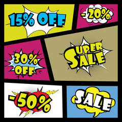 Comics speech bubble with expressions Sale or discount stickers set