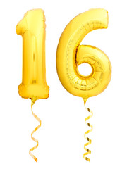 Golden number 16 sixteen made of inflatable balloon with ribbon isolated on white