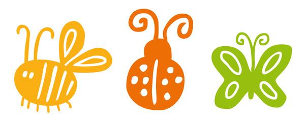 Illustrations-Set Insekten: Biene, Marienkäfer, Schmetterling / farbig, Vektor, handgezeichnet