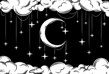 Month with the stars in the sky at night, surrounded by clouds