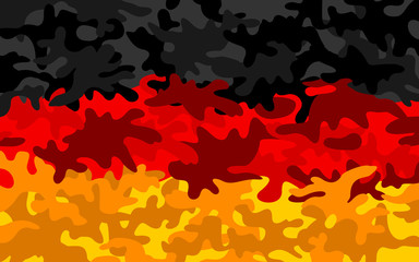 Camouflage pattern in colors of Germany - metaphor of German army, military power and armed forces