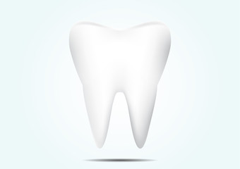 Tooth on pale blue background, dental concept vector illustration
