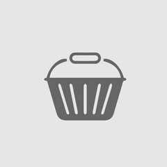 Basket vector icon eps 10. Shopping store symbol. Simple isolated pictogram.