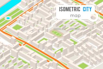 Isometric City street road map urban place landmark town 3d flat design vector illustration