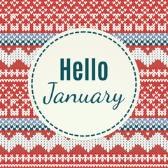 Hello January lettering on knitted background