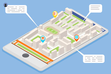 Mobile smart phone landmark showplace map pointer mark isometric city street road map urban place landmark town 3d flat design vector illustration