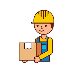 logistic company courier delivery man character holding parcel in hands vector illustration
