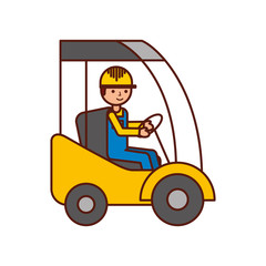 man driving a delivery truck logistic working vector illustration