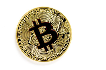 golden bitcoin (virtual coins) isolated on white background