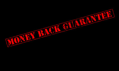 money back guarantee rubber stamp red stencil on a black background