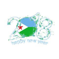 2018 Happy New Year Djibouti grunge vector template for greeting card and other.