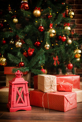 Christmas gifts are under the Christmas tree