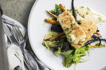 Crumbed Fish with Hollandaise Sauce