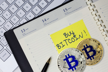Concept of buy Bitcoin (virtual money) at office