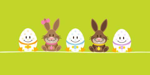 Easter Bunnies Boy/Girl & 3 Eggs Green