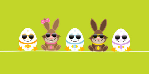 Easter Bunnies Boy/Girl & 3 Eggs Sunglasses Green