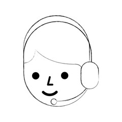 cartoon operator call center using headphones microphone vector illustration