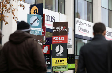 Estate agent boards on display in London
