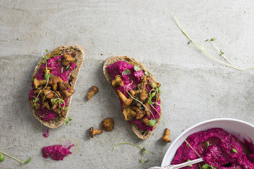 Beetroot Hummus with Wild Mushrooms Sandwich