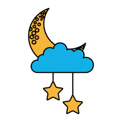 cloud sky with mon and stars vector illustration design