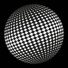 Ball in checkered pattern on a black background.
