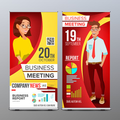 Roll Up Banner Vector. Vertical Billboard Template. Businessman And Business Woman. Expo, Presentation, Festival. For Corporate Forum. Presentation Concept. Red, Yellow. Realistic Flat Illustration