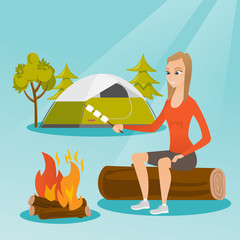 Caucasian white girl roasting marshmallows over campfire on the background of camping site with a tent. Girl sitting near campfire and roasting marshmallows. Vector cartoon illustration. Square layout