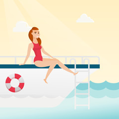 Young caucasian white woman tanning on the front of the yacht. Happy woman travelling by yacht. Woman resting during summer trip on the yacht. Vector cartoon illustration. Square layout.