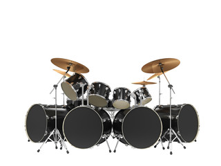 Large, cool, black drum kit. Isolated on white