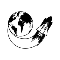 rocket space with planet earth vector illustration design