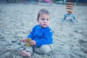 Cute little baby playing in the sand