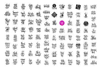 big set of 100 hand lettering inscription, motivation and inspir