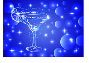 Three glasses of cocktail on a blue background with stars and lights, disco, club, neon glow