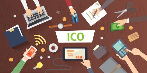 IT startup crowdfunding. Blockchain ICO vector illustration.
