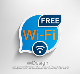 Free wifi symbol, emblem or sticker vector illustration.