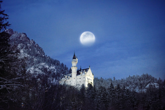 Splendid night scene of royal castle Neuschwanstein and surrounding area in Bavaria, Germany (Deutschland)