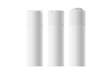 Liquid container for gel, lotion, cream, shampoo, bath foam. Beauty product package. Cosmetic plastic bottle. Set of deodorant spray for women or men.