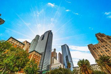 Wall Mural - Sun shining over downtown Los Angeles