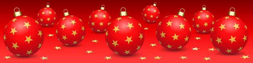 Foto auf Acrylglas Rot Banner. Rote Weihnachtskugeln. Roter Hintergrund