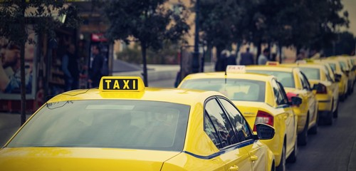 yellow cars of the city taxi