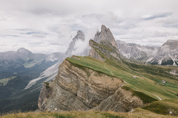 Mount Seceda (2500m) in Dolomites, Italy during cloudy day