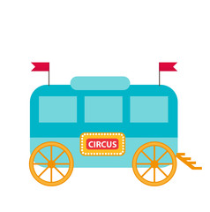Circus trailer, wagon icon flat style , isolated on white background. Vector illustration